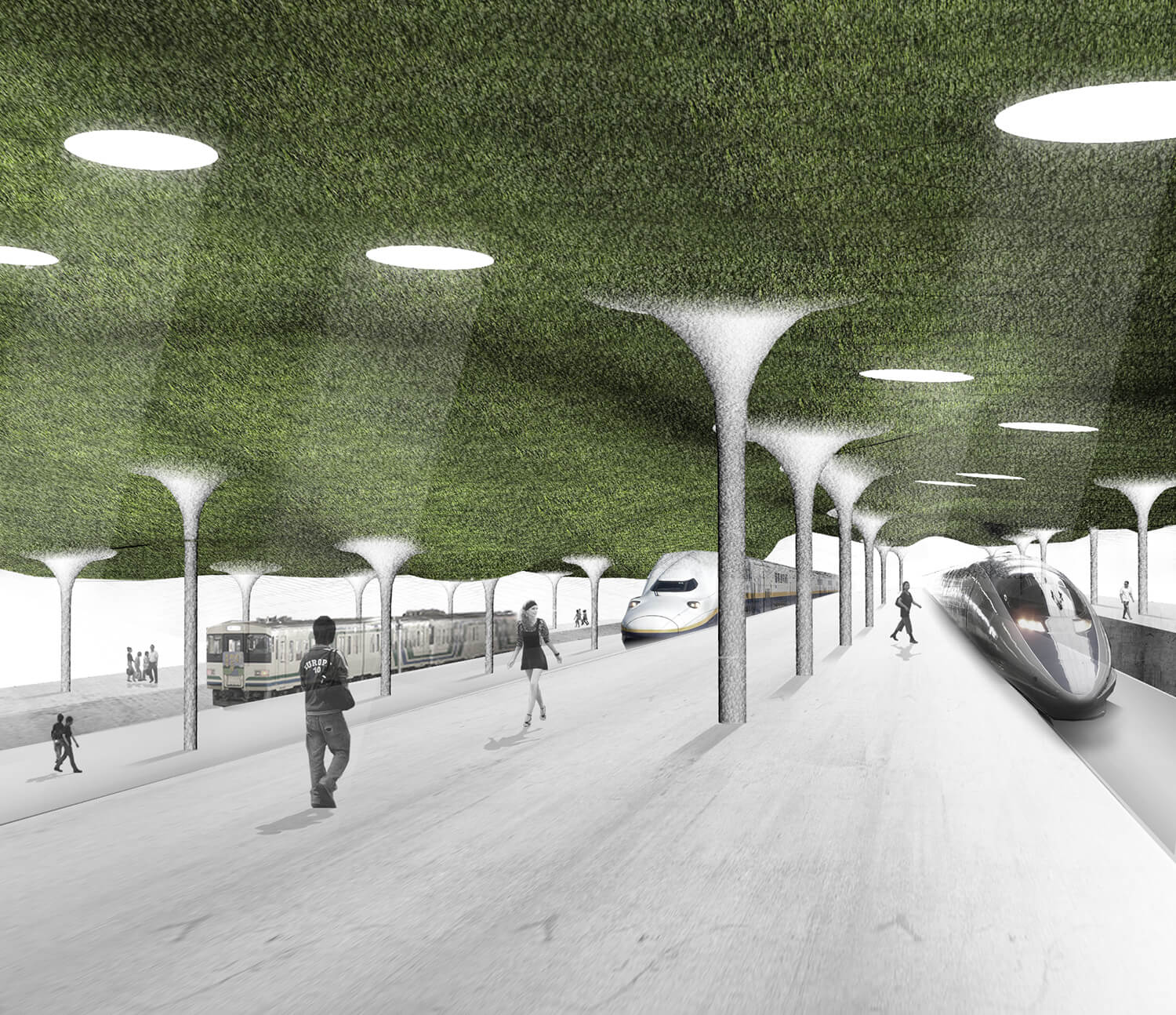 Jp toyama station building and surrounding landscape design proposal was to create with a thin and light landscape skin a roof that can both be enjoyed from mozeypictures Image collections